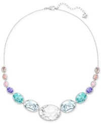 Swarovski Rhodium Tone Colorful Crystal Frontal Necklace Multicolor