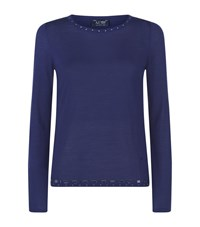 Armani Jeans Embellished Trim Sweater Female Blue