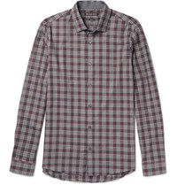 Michael Kors Michae Reece Sim Fit Checked Cotton Shirt Burgundy