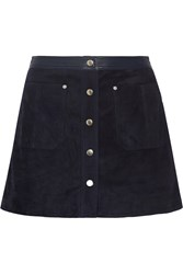 Rag And Bone Siggy Leather Trimmed Suede Mini Skirt Midnight Blue