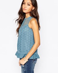 Pepe Jeans Sleeveless Shirt With Crochet Yoke Blue