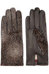 Agnelle Printed Calf Hair And Leather Gloves
