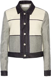 Victoria Beckham Paneled Wool Blend Boucle And Denim Jacket Blue