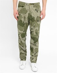 G Star Khaki Powel Loose Military Camouflage Cargo Trousers With Zipped Side Pocket