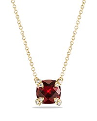 David Yurman Chatelaine Pendant Necklace With Garnet And Diamonds In 18K Gold Red Gold