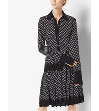Grommeted Polka Dot Silk Georgette Dress Black White