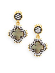 Freida Rothman Mother Of Pearl 14K Gold Vermeil And Sterling Silver Clover Drop Earrings