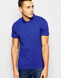 Dkny Polo Shirt Embroidered Chest Logo Blue