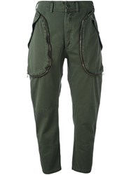 Faith Connexion Cargo Style Cropped Trousers Green