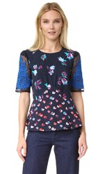 Rebecca Taylor Short Sleeve Print Top With Lace Navy Combo