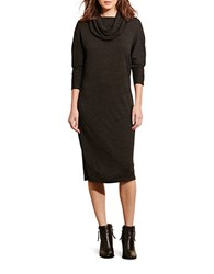 Lauren Ralph Lauren Cowlneck Wool Blend Jersey Dress Brown
