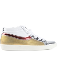 Leather Crown Panelled Metallic Sneakers