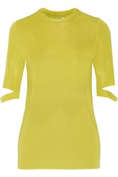 Issa Janet Cutout Stretch Knit Top Chartreuse