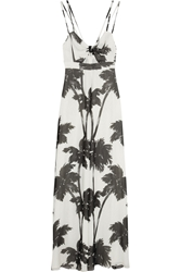 Moschino Cheap And Chic Palm Tree Print Silk Georgette Maxi Dress White