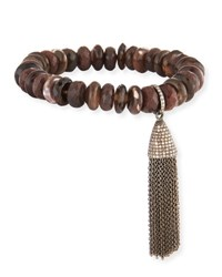 Sheryl Lowe Faceted Brown Mother Of Pearl Tassel Bracelet With Diamonds