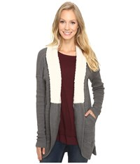 Mod O Doc Space Dye Thermal Sherpa Collar Cardigan Stormy Women's Sweater Gray