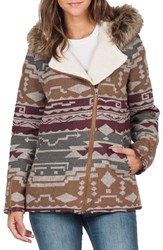 Volcom Women's Showdown Hooded Jacket With Removable Faux Fur Trim