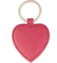 Smythson Panama Leather Heart Keyring Fuchsia