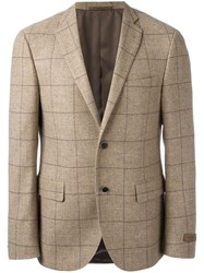 Corneliani Checked Blazer Brown