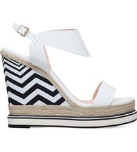 Nicholas Kirkwood Leda Patent Leather Wedge Sandals White
