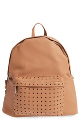 Street Level Perforated Faux Leather Backpack Beige Tan