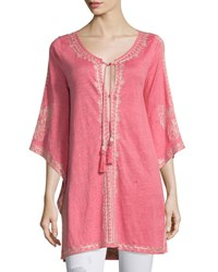 Calypso St. Barth Alus 3 4 Sleeve Embroidered Long Tee Cajun Coral Pink