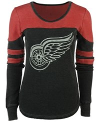 G3 Sports Women's Detroit Red Wings Hat Trick Thermal Long Sleeve T Shirt Charcoal Red