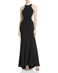Aqua Illusion Beaded Gown Black Nude Silver