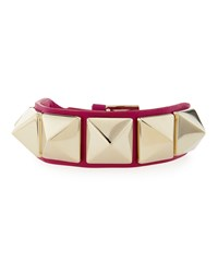 Valentino Medium Rockstud Leather Bracelet Fuschia