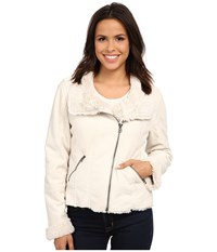 Dylan By True Grit Silky Suede Fur And Bonded Short Seam Jacket Winter White Women's Coat
