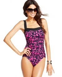 Inc International Concepts Printed Ruched One Piece Swimsuit Women's Swimsuit Pink