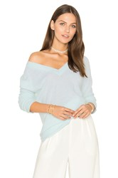 White Warren Side Slit V Neck Sweater Blue