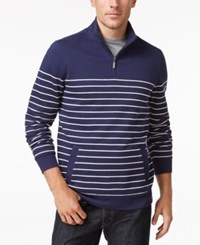 Club Room Men's Big And Tall Striped Quarter Zip Sweater Only At Macy's Navy Blue