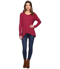 Mod O Doc Vintage Slub Thermal Seamed V Neck Pullover Cranberry Women's Long Sleeve Pullover Red