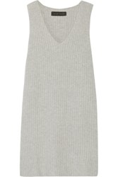 The Elder Statesman Ribbed Cashmere Blend Dress Light Gray