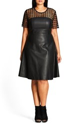 City Chic Plus Size Women's Tres Lace And Faux Leather Dress