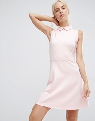 Asos Mini Skater Dress With Collar In Ponte Nude Pink