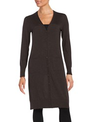 Lord And Taylor Merino Wool Long Cardigan Dolce Heather