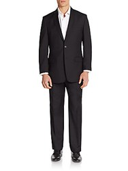 Versace Regular Fit Solid Wool And Cashmere Suit Black