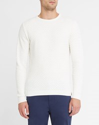 Knowledge Cotton Apparel Off White Diamond Knit Organic Round Neck Sweater