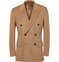 Kingsman Sand Slim Fit Double Breasted Baby Camel Hair Blazer Sand