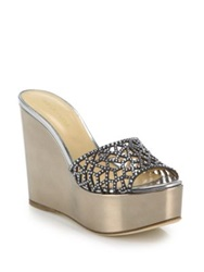Sergio Rossi Mirrored Leather And Swarovski Mule Wedge Slides Gold