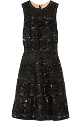 Elie Saab Embellished Tulle Mini Dress Black