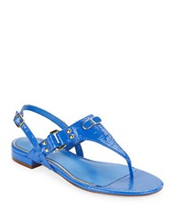 Lauren Ralph Lauren Valinda Patent Leather Thong Sandals Summer Blue