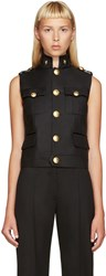 Dsquared Black Wool Army Vest