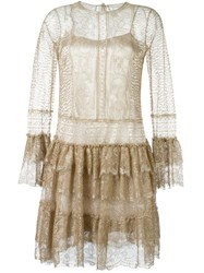 Alberta Ferretti Ruffled Lace Dress Metallic