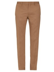 Burberry Stirling Slim Leg Cotton Blend Trousers Beige