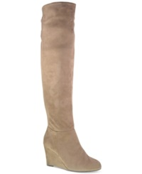 Chinese Laundry Unbeleivable Over The Knee Wedge Boots Women's Shoes Taupe