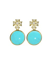 Elizabeth Showers Maltese Cross And Turquoise Earrings Gold
