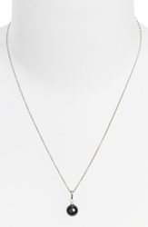 Mikimoto Diamond And Black South Sea Cultured Pearl Pendant Necklace White Gold